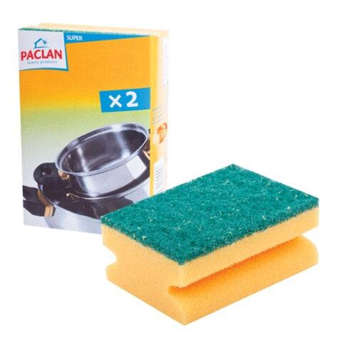 Губки бытовые PACLAN, комплект 2 шт., с чистящим слоем и выемкой для пальцев, 40×70×90 мм