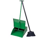 Совок для мусора металлический с крышкой + щетка с металлической ручкой 75 см (набор для подметания)