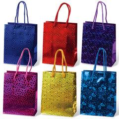 Пакет подарочный ламинированный, 11×14×6 см, голографический, цвет ассорти