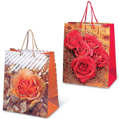 """Пакет подарочный ламинированный, 26х32х15 см, """"Цветы"""""""