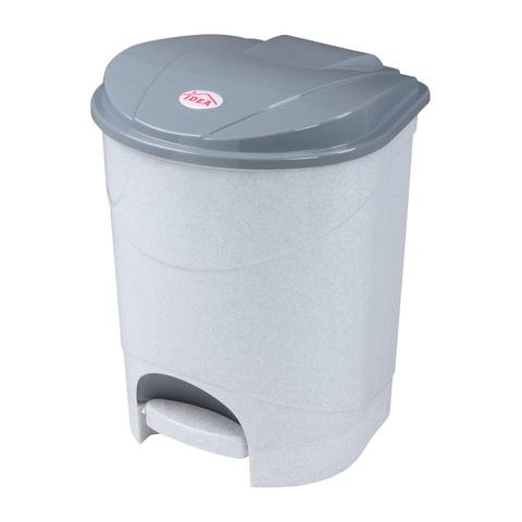 Ведро-контейнер 11 л, с крышкой и педалью, для мусора, 33х20х27 см, серое, IDEA