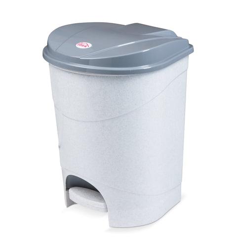 Ведро-контейнер 19 л, с крышкой и педалью, для мусора, 38×29×30 см, серое, IDEA