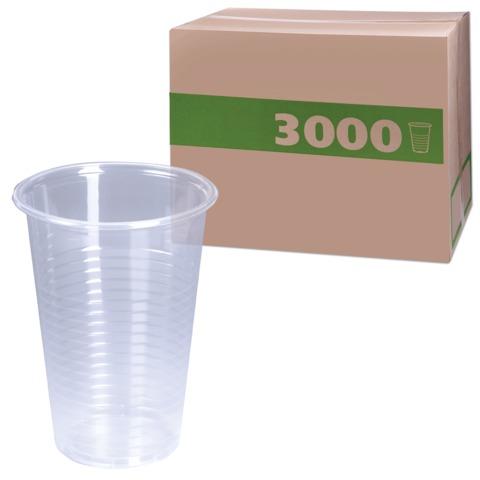 Одноразовые стаканы, комплект 3000 шт. (30 уп. по 100 шт.), пластиковые, 0,2 л, прозрачные, ПП, для холодного/<wbr/>горячего