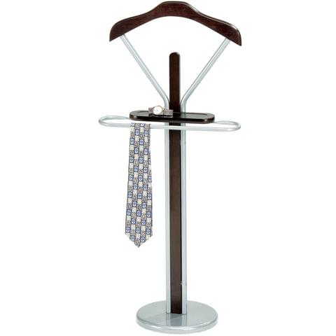 Вешалка-стойка костюмная СН-4089, 1080×450×300 мм, металл/<wbr/>дерево, темный орех/<wbr/>серебро