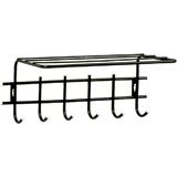 Вешалка настенная, металлическая, 6 крючков + полка, 290×620×110 мм, «Стандарт 1/<wbr/>6», цвет черный