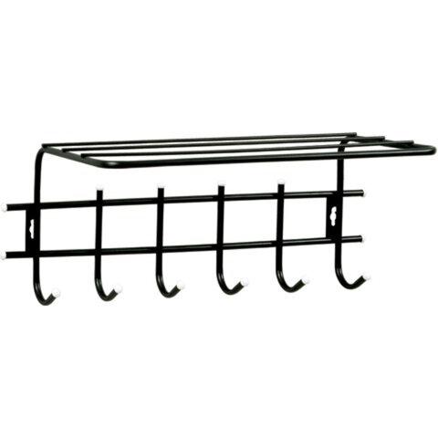 Вешалка настенная «Стандарт 1/<wbr/>6», 290×620×110 мм, 6 крючков + полка, металл, черная