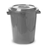 Контейнер для мусора 60 л + КРЫШКА, IDEA, серый (высота 72 см, диаметр 48,5 см)