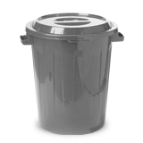 Контейнер для мусора, 90 л + КРЫШКА, IDEA, серый, 64,5хдиаметр 60 см