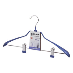Вешалка-плечики BRABIX «Стандарт», с клипсами для брюк, металл/<wbr/>ПВХ, 45 см, цвет синий