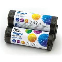 Мешки для мусора, 35 л, комплект 25 шт., рулон, ПНД, повышенной прочности, 50×60 см, 12 мкм, черные, FUN CLEAN