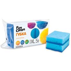 Губки бытовые для мытья посуды, комплект 5 шт., чистящий слой, 2,5×10×7 см, FUN CLEAN, XL