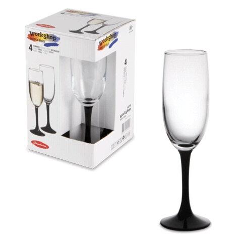 Набор бокалов для шампанского PASABAHCE «Imperial Black», темная ножка, 4 шт., 155 мл, стекло