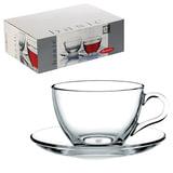 Набор чайный PASABAHCE «Basic» на 6 персон (6 кружек 215 мл, 6 блюдец), стекло