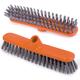 Щетка для уборки IDEA «Шробер», ширина 27 см, высота щетины 3,5 см, пластик, оранжевая (черенок 601322)
