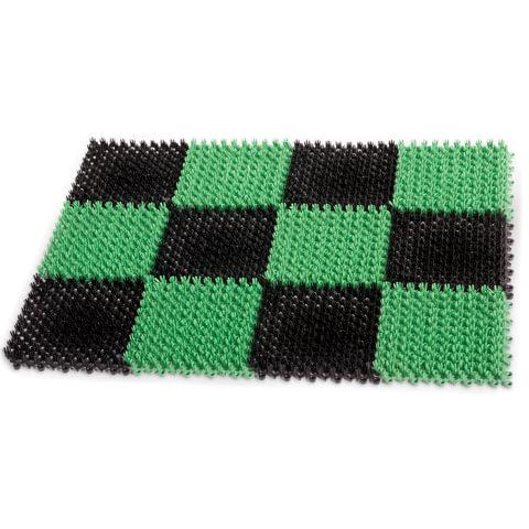 """Коврик входной пластиковый грязезащитный """"Травка"""", 55х41х1,8 см, зеленый-черный, IDEA"""