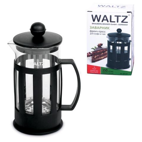 Заварник (френч-пресс) WALTZ / ЛАЙМА «Калейдоскоп», 350 мл, жаропрочное стекло/<wbr/>пластик, черный