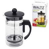 Заварник (френч-пресс) WALTZ (ВАЛЬЦ) B630, 600 мл, жаропрочное стекло/<wbr/>пластик/<wbr/>нержавеющая сталь, черный