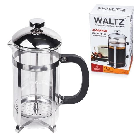 Заварник (френч-пресс) WALTZ (ВАЛЬЦ) «Классик», 1 л, жаропрочное стекло/<wbr/>пластик/<wbr/>нержавеющая сталь + пластиковая ложка