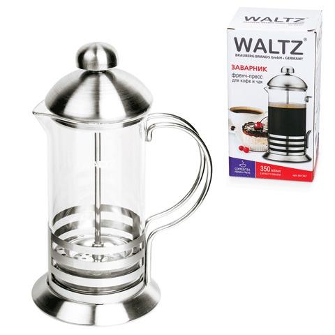 Заварник (френч-пресс) WALTZ / ЛАЙМА «Элит», 350 мл, жаропрочное стекло/<wbr/>нержавеющая сталь + пластиковая ложка