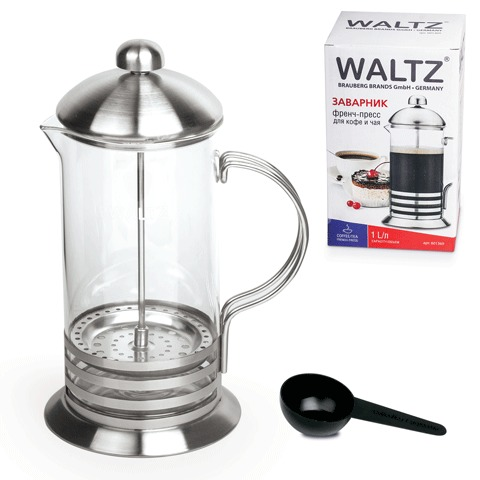 Заварник (френч-пресс) WALTZ / ЛАЙМА «Элит», 1 л, жаропрочное стекло/<wbr/>нержавеющая сталь + пластиковая ложка