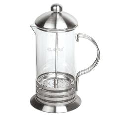 Заварник (френч-пресс) ЛАЙМА «Элит», 1 л, жаропрочное стекло/<wbr/>нержавеющая сталь + пластиковая ложка
