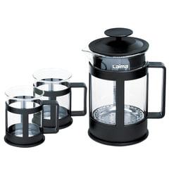 Набор ЛАЙМА «Утро», френч-пресс 800 мл + 2 стакана 200 мл, жаропрочное стекло/<wbr/>пластик, черный