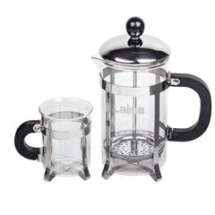 Набор ЛАЙМА «Классик», френч-пресс 600 мл + 2 стакана 200 мл + ложка, жаропрочное стекло/<wbr/>пластик/<wbr/>нержавеющая сталь