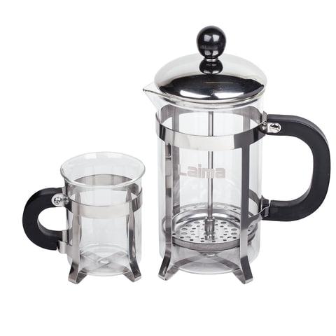 """Набор ЛАЙМА """"Классик"""", френч-пресс 600 мл + 2 стакана 200 мл + ложка, жаропрочное стекло/пластик/нержавеющая сталь"""