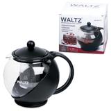 Заварник (чайник) WALTZ / ЛАЙМА, 1,25 л, стекло/<wbr/>пластик/<wbr/>фильтр — нержавеющая сталь, черный