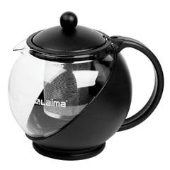 Заварник (чайник) ЛАЙМА «Бергамот», 1,25 л, стекло/<wbr/>пластик/<wbr/>фильтр — нержавеющая сталь, черный