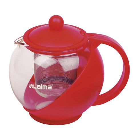 """Заварник (чайник) ЛАЙМА """"Бергамот"""", 750 мл, стекло/пластик/фильтр - нержавеющая сталь, красный"""