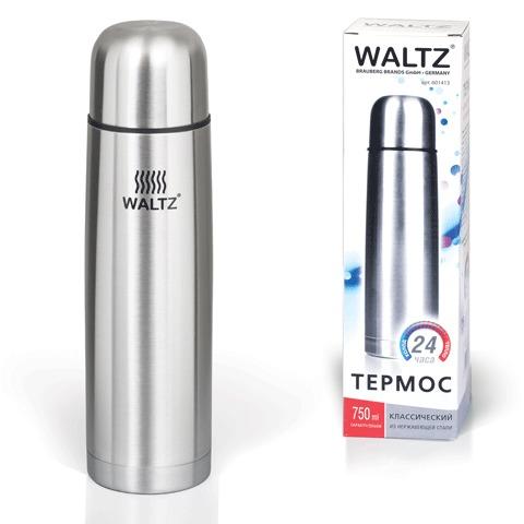 Термос WALTZ / ЛАЙМА классический с узким горлом, 0,75 л, нержавеющая сталь