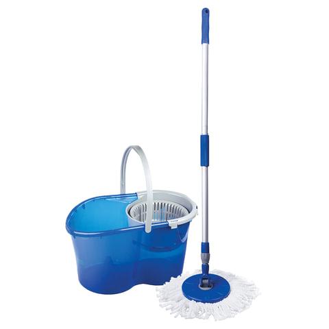 Набор для уборки ЛАЙМА, ведро 5 л с отжимом, самоотжимная швабра с круглой насадкой (2 шт.), для дома и офиса