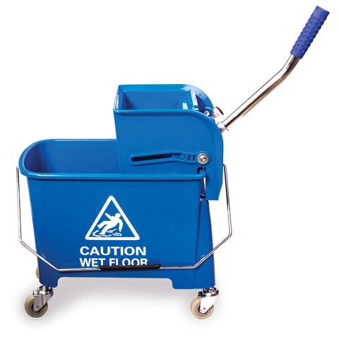 Тележка уборочная-ведро ЛАЙМА «Проф», 20 л, механический отжим, синяя