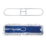 Держатель-рамка для швабры ЛАЙМА «Проф» с насадкой МОП, завязки, хлопок, 60 см (черенок 601513)