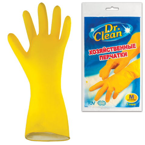 Перчатки хозяйственные латексные DR.CLEAN (Доктор Клин), без х/<wbr/>б напыления, размер М (средний)
