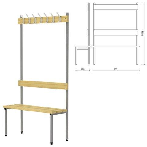 Вешалка со скамьей П-091Д/<wbr/>1, 1818×980×370 мм, 7 крючков, каркас металлический серый, сиденье — дерево