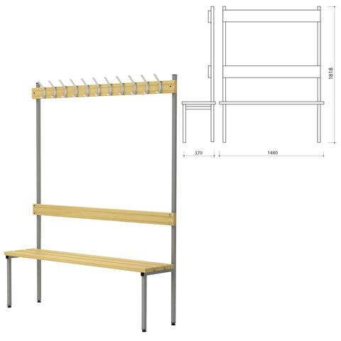 Вешалка со скамьей П-091Д/<wbr/>1,5, 1818×1480×370 мм, 11 крючков, каркас металлический серый, сиденье — дерево