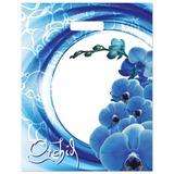 Пакет с вырубной ручкой ПВД, 40×34 см, «Синяя волна», 30 мкм