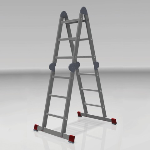 Лестница-трансформер 4х3 ступени, высота 3,48 м (4 секции по 0,94 м), алюминиевая, вес 14,5 кг