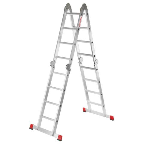 Лестница-трансформер 4×4 ступени, высота 4,52 м (4 секции по 1,2 м), алюминиевая, вес 16,5 кг