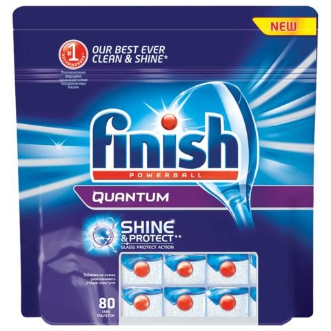 Средство для мытья посуды в посудомоечных машинах 80 шт., FINISH (Финиш) Quantum «PowerBall», таблетки
