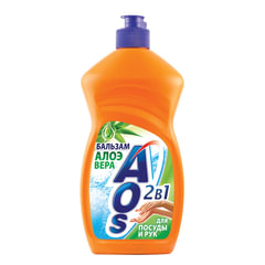 Средство для мытья посуды 500 мл, AOS «Бальзам Алоэ вера»