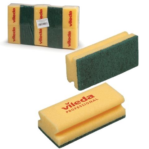 Губки VILEDA «Виледа», комплект 10 шт., для любых поверхностей, зеленый абразив, желтые, 7×9,5 см