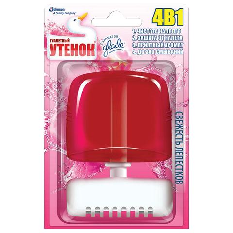 Освежитель WC (для туалета) жидкий ТУАЛЕТНЫЙ УТЕНОК, 55 мл, «Свежесть лепестков»