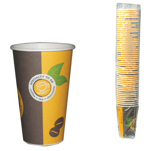Одноразовые стаканы ХУХТАМАКИ, комплект 50 шт., бумажные, однослойные, 400 мл, цветная печать, для холодного/<wbr/>горячего, Sp16S