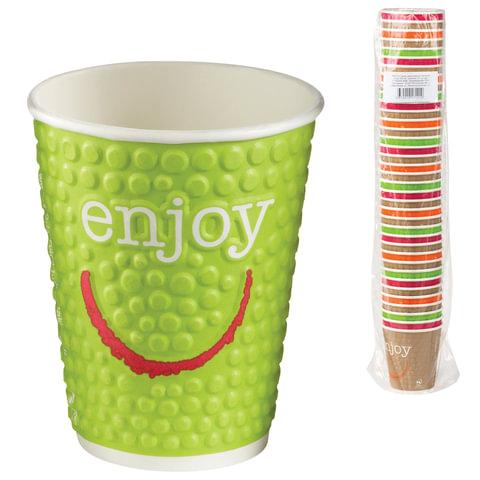 Одноразовые стаканы «Хухтамаки», комплект 37 шт., бумажные двухслойные, 200 мл, «Enjoy», цветная печать, для холодного/<wbr/>горячего