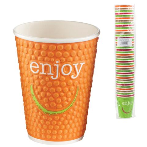 """Одноразовые стаканы """"Хухтамаки"""", комплект 40 шт., бумажные двухслойные, 300 мл, """"Enjoy"""", цветная печать, для холодного/горячего"""