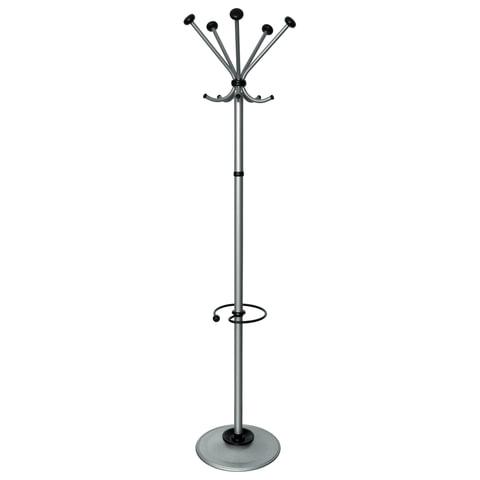 """Вешалка-стойка """"Квинтет ТМК-2"""", 1,93 м, диск 39 см, 5 крючков + место для зонтов, металл, серебристая"""