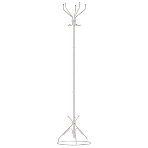 """Вешалка-стойка """"Ажур-2"""", 1,77 м, основание 45 см, 5 крючков, металл, белая"""